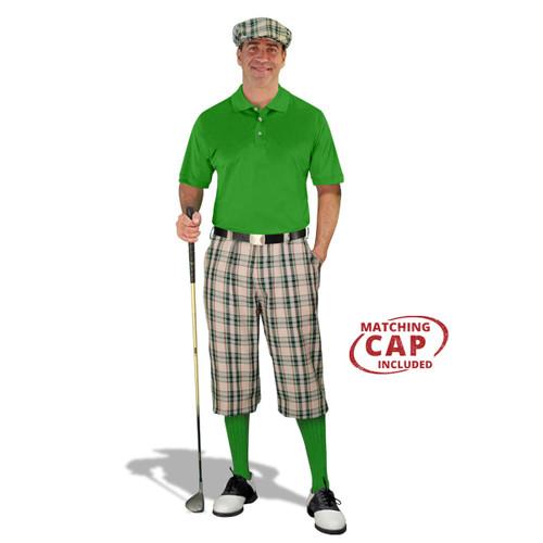 Golf Outfit - Mens Khaki Stewart & Lime