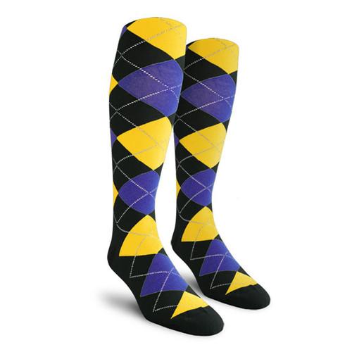 Argyle Socks - Ladies Over-the-Calf - SSSS: Black/Royal/Yellow