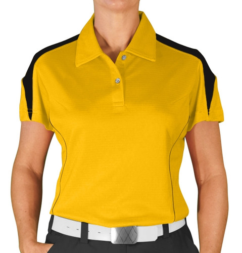 Ladies Caddie Golf Shirt - Yellow/Black