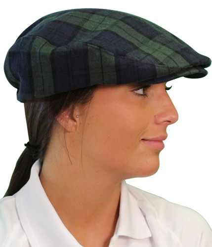 Plaid Golf Cap - 'Par 5' Ladies Black Watch