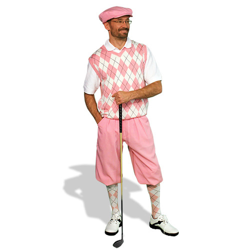 Mens Pink & White Sweater Golf Outfit