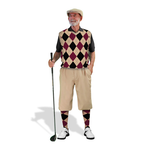 Mens Khaki, Black & Maroon Sweater Golf Outfit