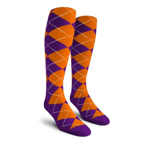 Argyle Socks - Ladies Over-the-Calf - 5D: Purple/Orange