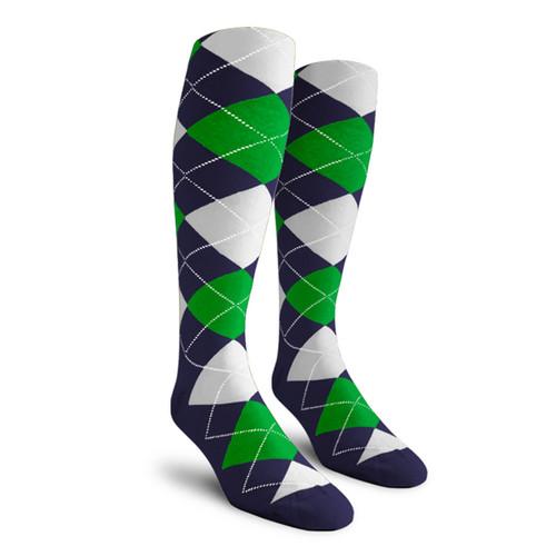 Argyle Socks - Ladies Over-the-Calf - 5N: Navy/Lime/White
