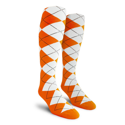 Argyle Socks - Youth Over-the-Calf - X: Orange/White