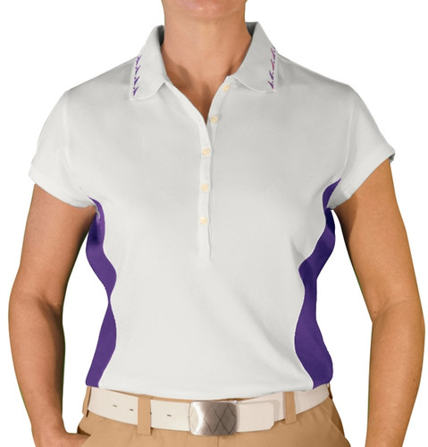 Ladies Clubman Golf Shirt - White/Purple
