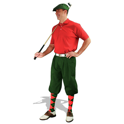 Mens Dark Green & Red Golf Outfit