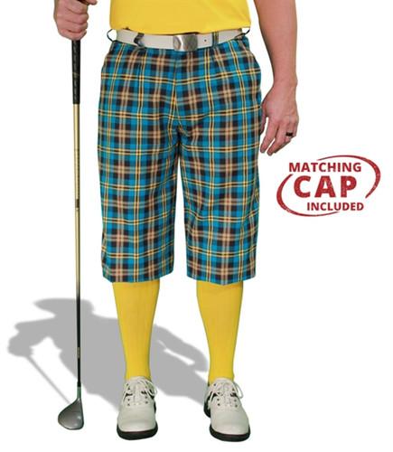 Plaid Golf Knickers & Cap - 'Par 5' Mens Rio