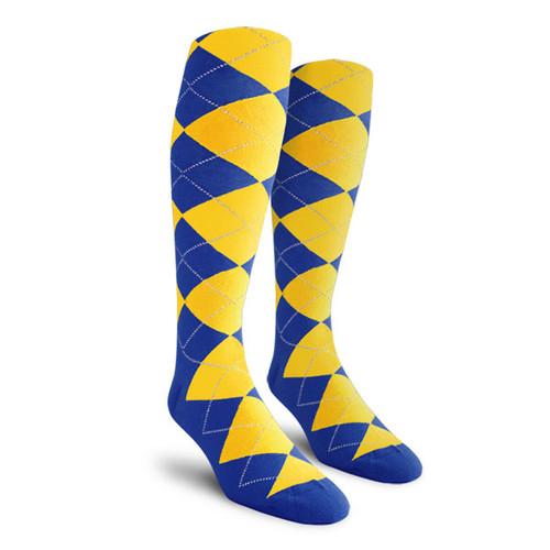 Argyle Socks - Ladies Over-the-Calf - II: Royal/Yellow
