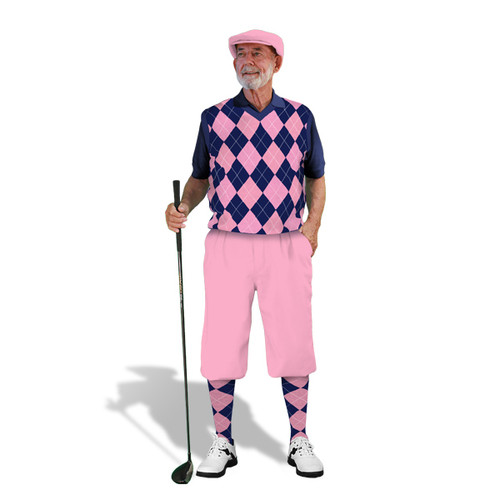 Mens Pink & Navy Sweater Golf Outfit