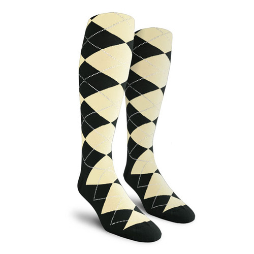 Argyle Socks - Mens Over-the-Calf - BBB: Black/Natural