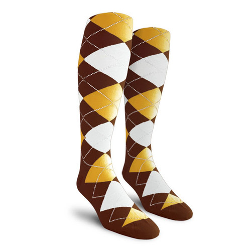 Argyle Socks - Ladies Over-the-Calf - EEEE: Brown/White/Gold