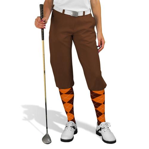 Golf Knickers - 'Par 3' Ladies Brown Microfiber