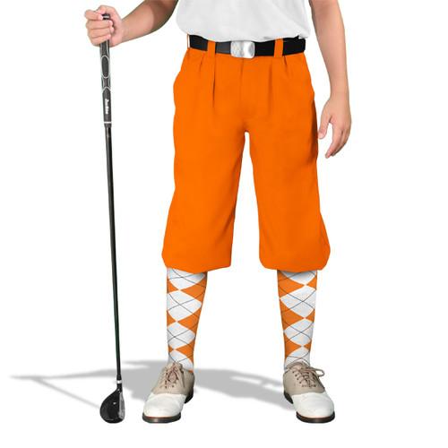 Golf Knickers - 'Par 4' Youth Orange Cotton