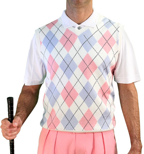 Argyle Sweater Vest - Mens White/Pink/Lt. Blue