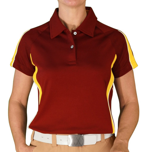 Ladies Eagle Golf Shirt - Maroon/Yellow
