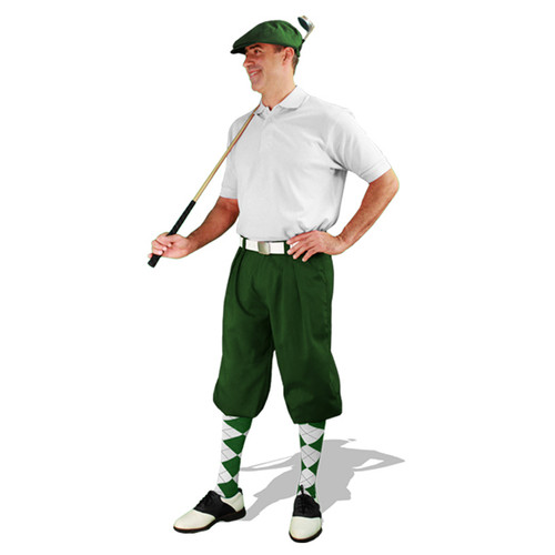 Mens Dark Green & White Golf Outfit