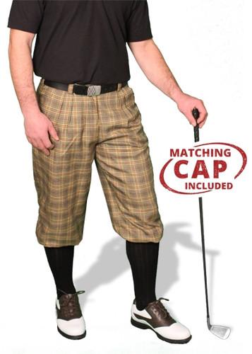 'Par 5' Mens Wool-Blend Golf Knickers & Cap