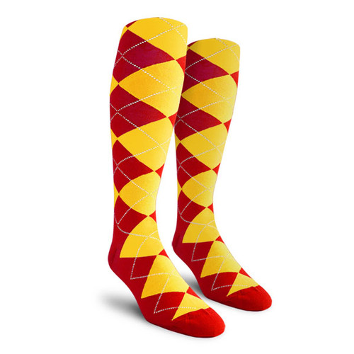 Argyle Socks - Ladies Over-the-Calf - VV: Red/Yellow