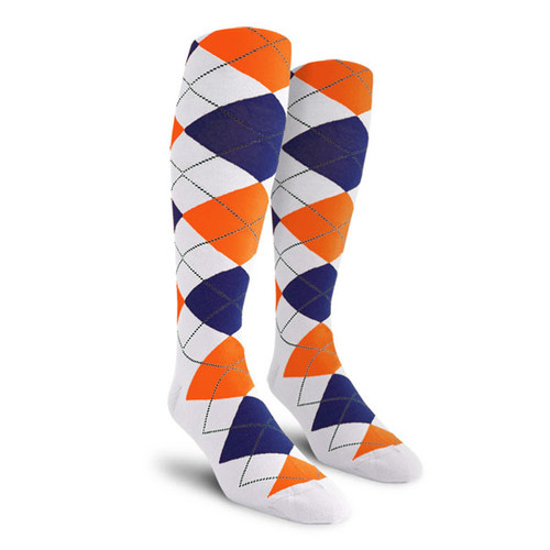 Argyle Socks - Mens Over-the-Calf - RRRR: White/Royal/Orange