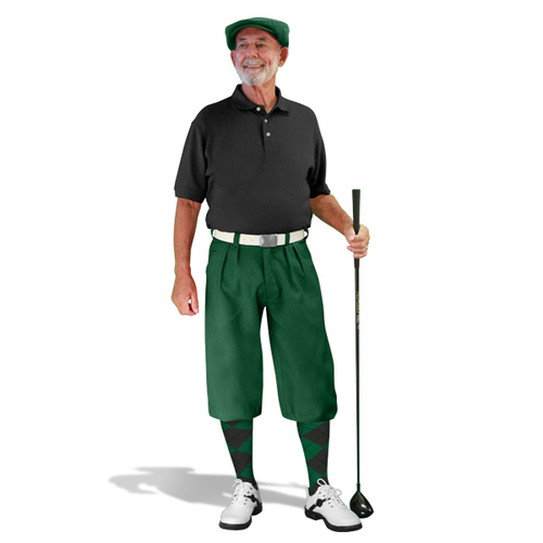 Mens Dark Green & Black Golf Outfit