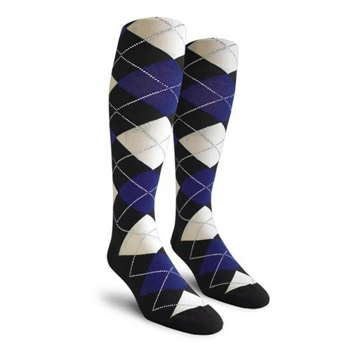 Argyle Socks - Ladies Over-the-Calf - GGGG: Black/Royal/White