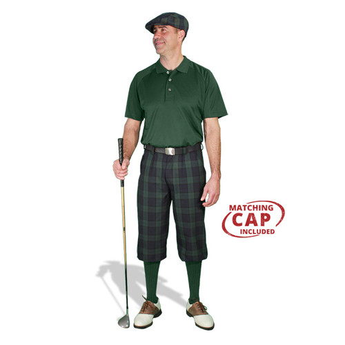 Golf Outfit - Mens Black Watch & Dark Green