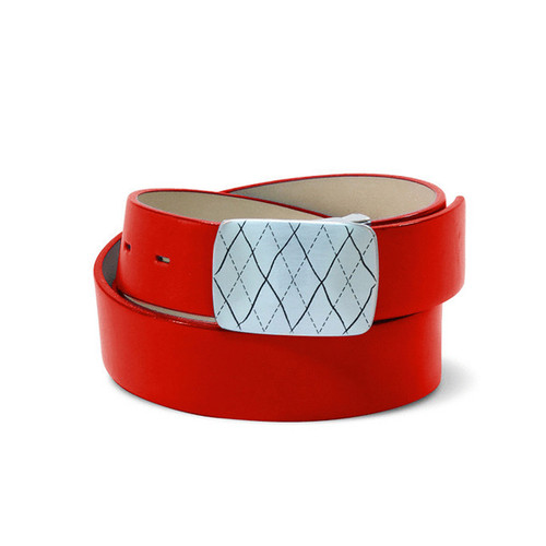 Couture Leather Mens Golf Belt - Red