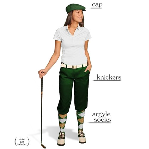 Golf Knickers - Ladies Dark Green Start-in-Style Outfit