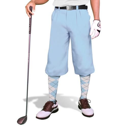 Golf Knickers - 'Par 4' Mens Light Blue Cotton/Ramie