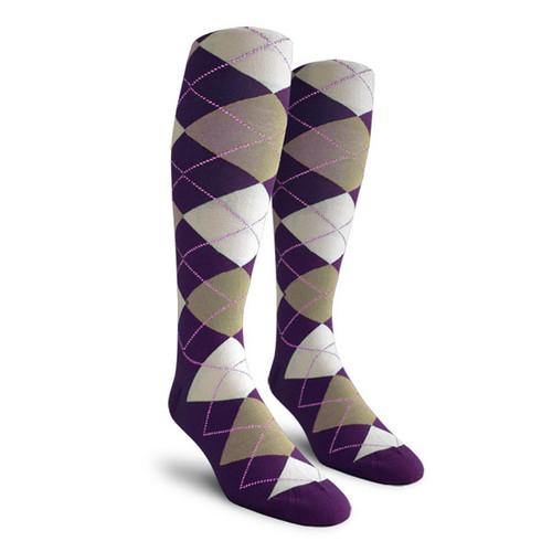 Argyle Socks - Ladies Over-the-Calf - ZZZ: Purple/Taupe/White