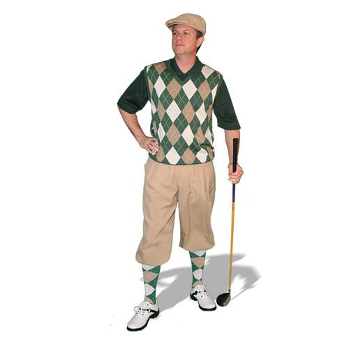 Mens Khaki, Dark Green & White Sweater Golf Outfit