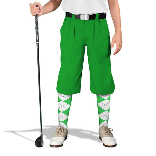 Golf Knickers - 'Par 4' Youth Lime Cotton