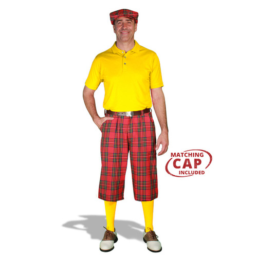 Golf Outfit - Mens Royal Stewart & Yellow