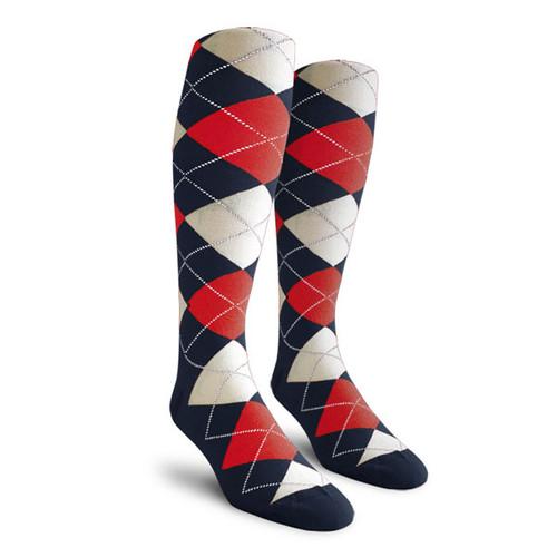 Argyle Socks - Ladies Over-the-Calf - KKKK: Navy/Red/White