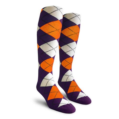 Argyle Socks - Mens Over-the-Calf - LL: Purple/Orange/White