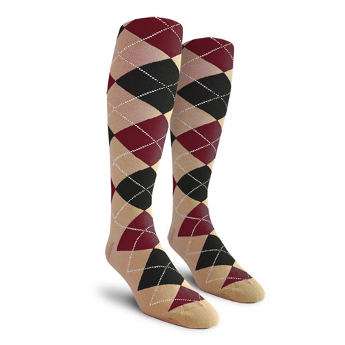 Argyle Socks - Youth Over-the-Calf - HHH: Khaki/Black/Maroon