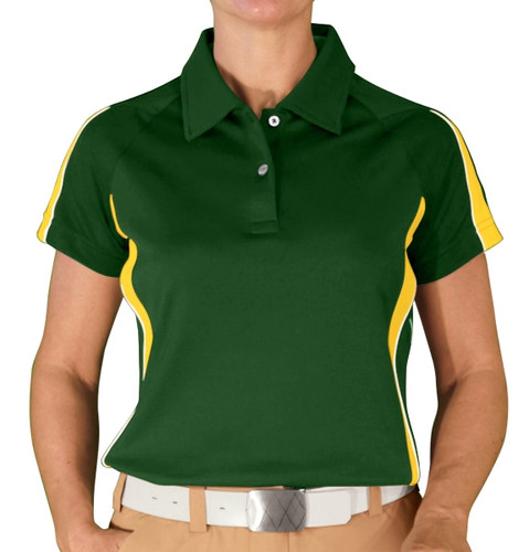 Ladies Eagle Golf Shirt - Dark Green/Yellow