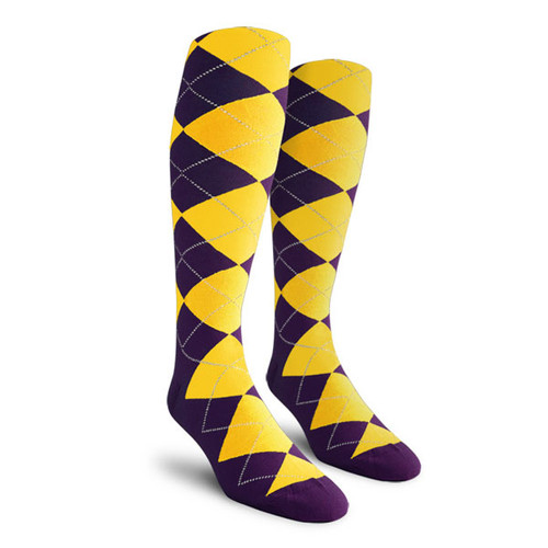 Argyle Socks - Ladies Over-the-Calf - JJ: Purple/Yellow