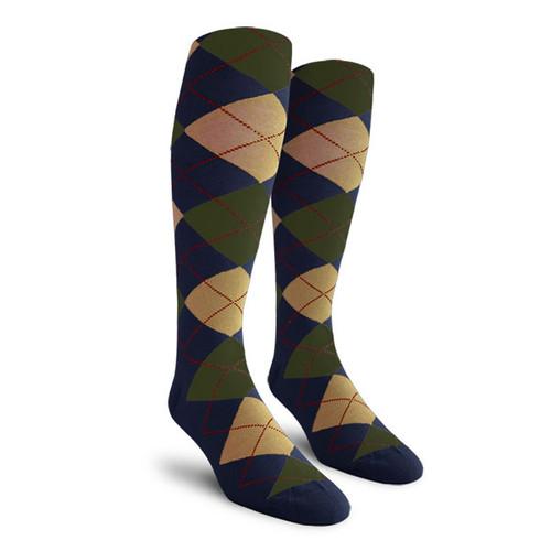 Argyle Socks - Mens Over-the-Calf - K: Navy/Khaki/Olive