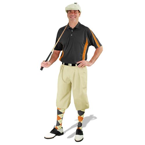 Mens Natural, Black, & Orange Golf Outfit