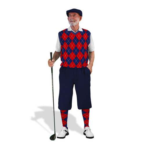 Mens Navy & Red Sweater Golf Outfit