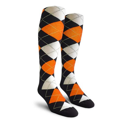 Argyle Socks - Ladies Over-the-Calf - SSS: Black/Orange/White