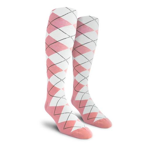 Argyle Socks - Ladies Over-the-Calf - FF: Pink/White