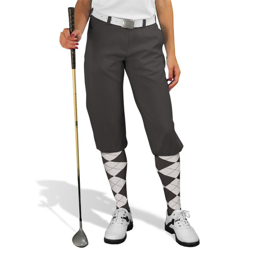 Golf Knickers - 'Par 3' Ladies Charcoal Microfiber