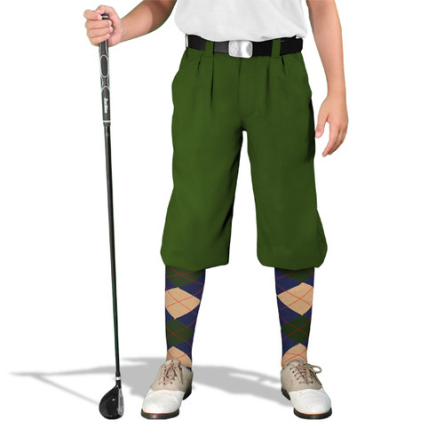 Golf Knickers - 'Par 3' Youth Olive Microfiber