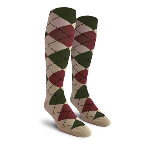 Argyle Socks - Mens Over-the-Calf - B: Taupe/Maroon/Olive
