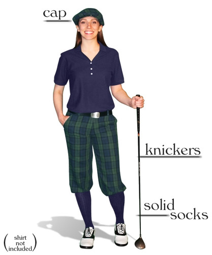 Ladies 'Par 5' Black Watch Plaid Start-in-Style Outfit