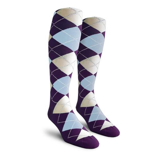 Argyle Socks - Ladies Over-the-Calf - DDDD: Purple/Light Blue/White