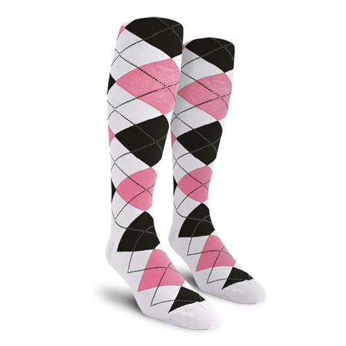 Argyle Socks - Youth Over-the-Calf - XXXX: White/Pink/Black